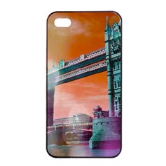 London Tower Bridge, Bokeh Orange Apple Iphone 4/4s Seamless Case (black) by MoreColorsinLife