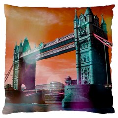 London Tower Bridge, Bokeh Orange Large Cushion Cases (two Sides)  by MoreColorsinLife