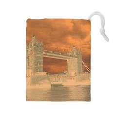 London Tower Bridge Special Effect Drawstring Pouches (large)