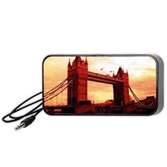 London Tower Bridge Red Portable Speaker (black)  by MoreColorsinLife