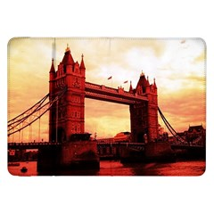 London Tower Bridge Red Samsung Galaxy Tab 8 9  P7300 Flip Case by MoreColorsinLife