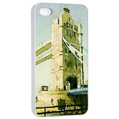 Watercolors, London Tower Bridge Apple Iphone 4/4s Seamless Case (white)