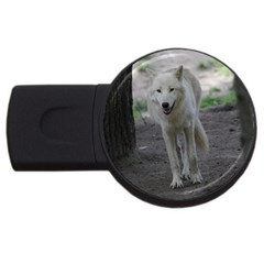 White Wolf Usb Flash Drive Round (4 Gb)  by MoreColorsinLife