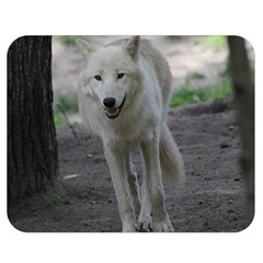 White Wolf Double Sided Flano Blanket (medium)  by MoreColorsinLife