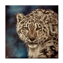Snow Leopard Tile Coasters by ArtByThree