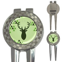 Modern Geometric Black And Green Christmas Deer 3 In 1 Golf Divots by Dushan