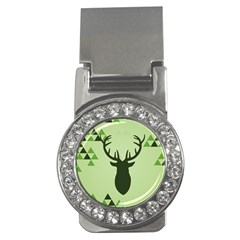 Modern Geometric Black And Green Christmas Deer Money Clips (cz)  by Dushan