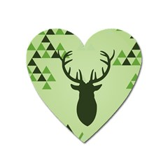 Modern Geometric Black And Green Christmas Deer Heart Magnet by Dushan