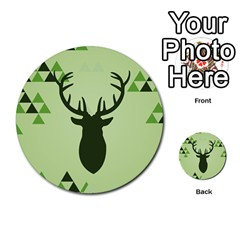 Modern Geometric Black And Green Christmas Deer Multi Purpose Cards (round)