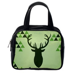 Modern Geometric Black And Green Christmas Deer Classic Handbags (one Side) by Dushan