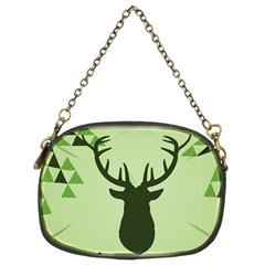 Modern Geometric Black And Green Christmas Deer Chain Purses (two Sides)  by Dushan