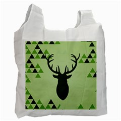 Modern Geometric Black And Green Christmas Deer Recycle Bag (one Side) by Dushan