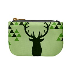 Modern Geometric Black And Green Christmas Deer Mini Coin Purses by Dushan
