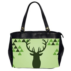 Modern Geometric Black And Green Christmas Deer Office Handbags (2 Sides)  by Dushan