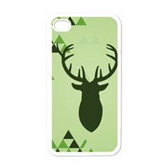 Modern Geometric Black And Green Christmas Deer Apple Iphone 4 Case (white) by Dushan
