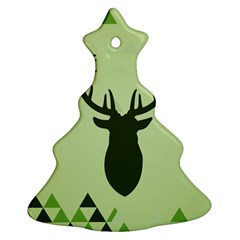 Modern Geometric Black And Green Christmas Deer Ornament (christmas Tree)