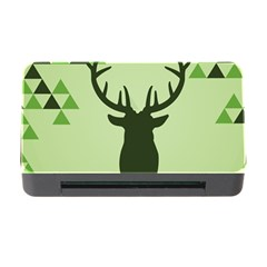 Modern Geometric Black And Green Christmas Deer Memory Card Reader With Cf by Dushan