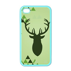 Modern Geometric Black And Green Christmas Deer Apple Iphone 4 Case (color) by Dushan