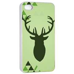 Modern Geometric Black And Green Christmas Deer Apple Iphone 4/4s Seamless Case (white) by Dushan