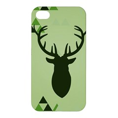 Modern Geometric Black And Green Christmas Deer Apple Iphone 4/4s Premium Hardshell Case by Dushan