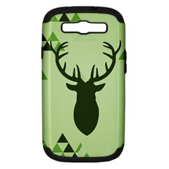 Modern Geometric Black And Green Christmas Deer Samsung Galaxy S Iii Hardshell Case (pc+silicone) by Dushan