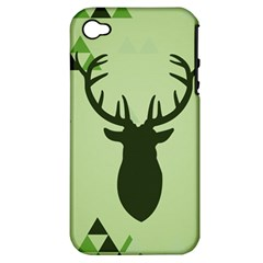 Modern Geometric Black And Green Christmas Deer Apple Iphone 4/4s Hardshell Case (pc+silicone) by Dushan
