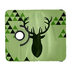 Modern Geometric Black And Green Christmas Deer Samsung Galaxy S  Iii Flip 360 Case by Dushan