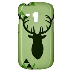 Modern Geometric Black And Green Christmas Deer Samsung Galaxy S3 Mini I8190 Hardshell Case by Dushan