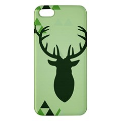 Modern Geometric Black And Green Christmas Deer Apple Iphone 5 Premium Hardshell Case by Dushan