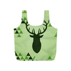 Modern Geometric Black And Green Christmas Deer Full Print Recycle Bags (s)  by Dushan