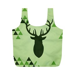 Modern Geometric Black And Green Christmas Deer Full Print Recycle Bags (m)  by Dushan