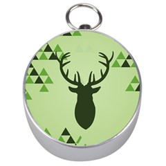 Modern Geometric Black And Green Christmas Deer Silver Compasses