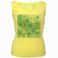 Winter Bokeh Blue Women s Yellow Tank Tops by MoreColorsinLife