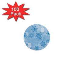 Winter Bokeh Blue 1  Mini Buttons (100 Pack)
