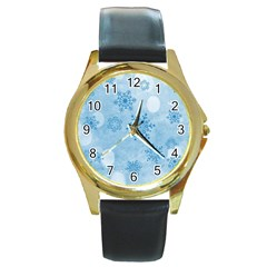 Winter Bokeh Blue Round Gold Metal Watches