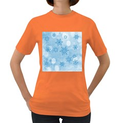 Winter Bokeh Blue Women s Dark T Shirt by MoreColorsinLife