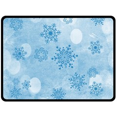 Winter Bokeh Blue Fleece Blanket (large)