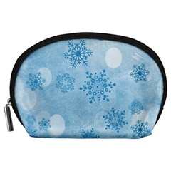 Winter Bokeh Blue Accessory Pouches (large)  by MoreColorsinLife