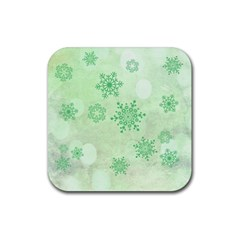 Winter Bokeh Green Rubber Coaster (square)  by MoreColorsinLife