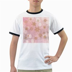 Winter Bokeh Pink Ringer T Shirts