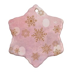 Winter Bokeh Pink Snowflake Ornament (2 Side) by MoreColorsinLife