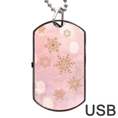 Winter Bokeh Pink Dog Tag Usb Flash (one Side) by MoreColorsinLife