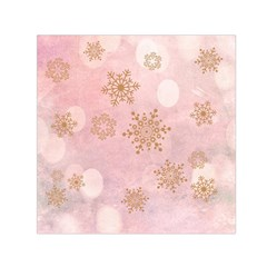 Winter Bokeh Pink Small Satin Scarf (square)  by MoreColorsinLife