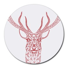 Modern Red Geometric Christmas Deer Illustration Round Mousepads by Dushan