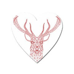 Modern Red Geometric Christmas Deer Illustration Heart Magnet by Dushan