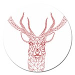 Modern red geometric christmas deer illustration Magnet 5  (Round) Front