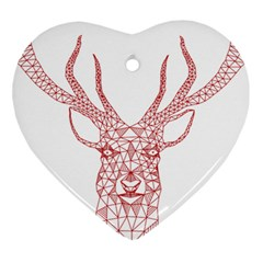 Modern Red Geometric Christmas Deer Illustration Heart Ornament (2 Sides) by Dushan