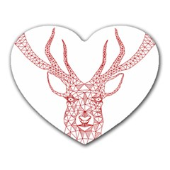 Modern Red Geometric Christmas Deer Illustration Heart Mousepads by Dushan