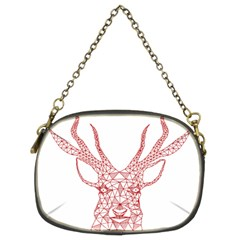 Modern Red Geometric Christmas Deer Illustration Chain Purses (two Sides)  by Dushan