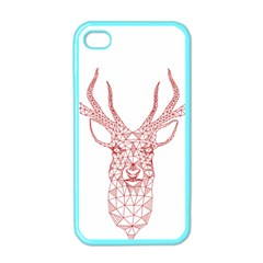 Modern Red Geometric Christmas Deer Illustration Apple Iphone 4 Case (color) by Dushan